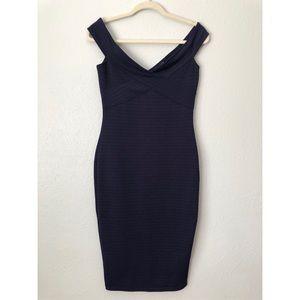 ASOS navy bandage Bardot bodycon shoulder dress 6